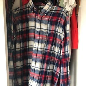 Red and navy, thick flannel shirt